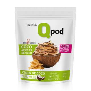 Chips de Coco assado Com Açúcar de Coco – Sabor Natural – Qpod – 40g | QPod