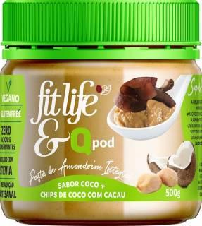Pasta de Amendoim sabor coco com chips de coco com cacau | QPod