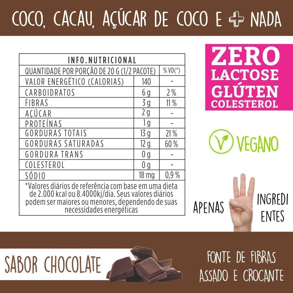 Combo 5 unidades - Chips de Coco assado – Sabor Chocolate - QPod