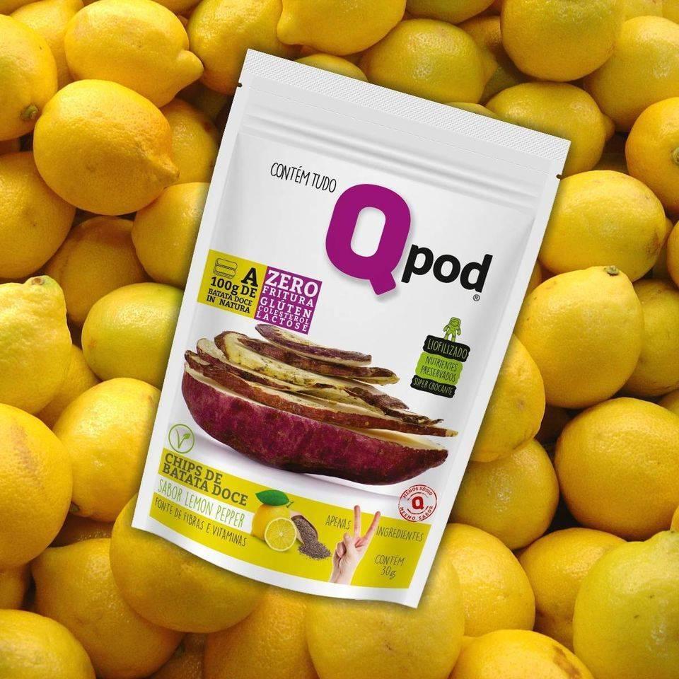 Combo 10 unidades - Chips de Batata Doce - Sabor Lemon Pepper - QPod