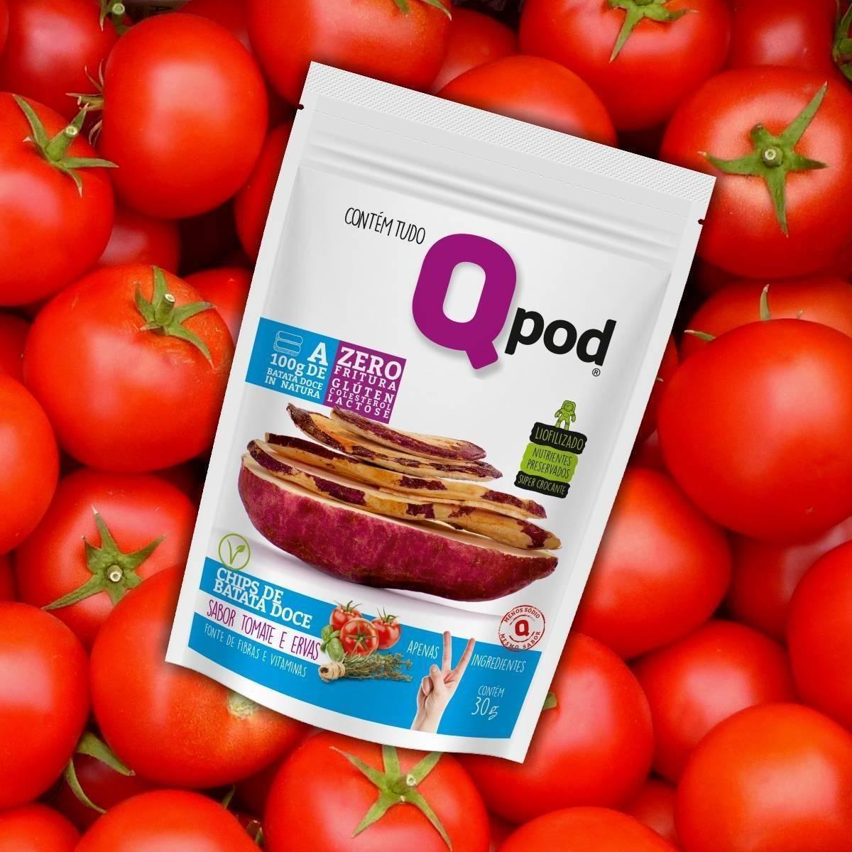 Combo 10 unidades - Chips de Batata Doce - Sabor Tomate e Ervas - QPod