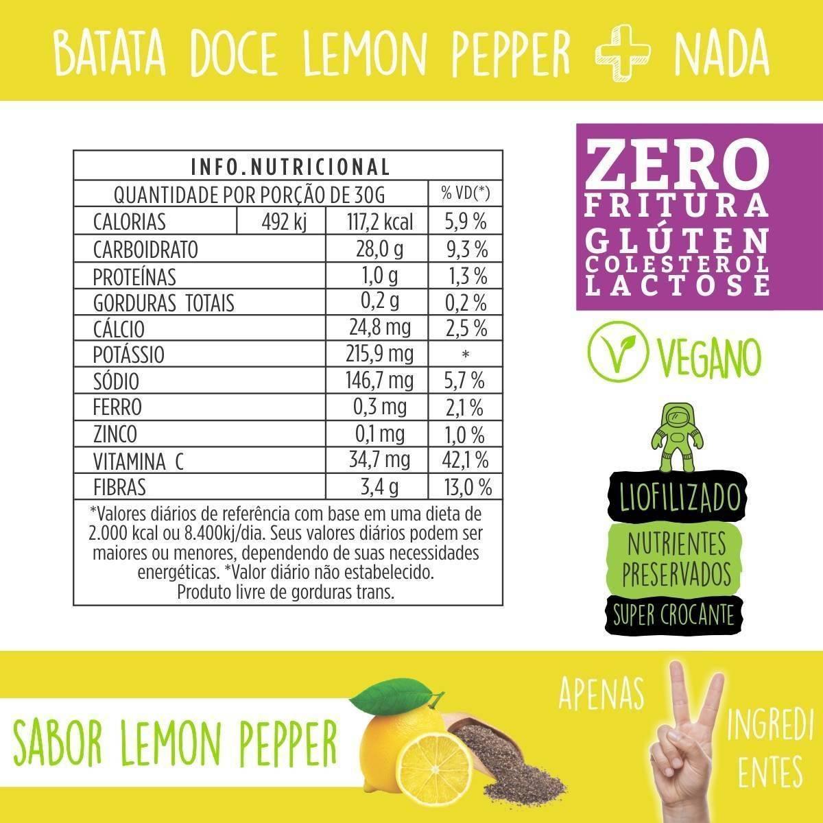 Combo 5 unidades Chips de Batata Doce Lemon Pepper + 5 unidades Tomate e Ervas - QPod