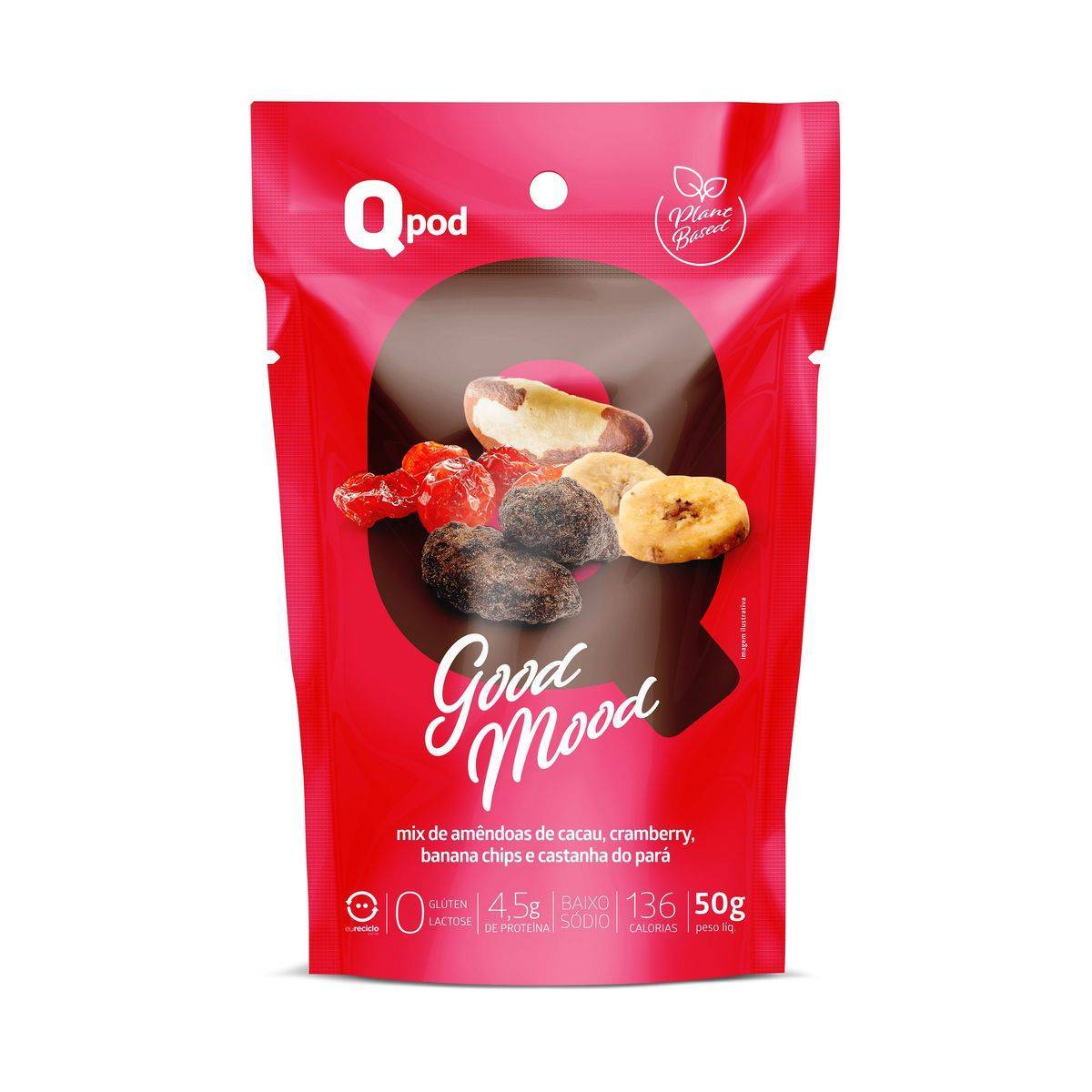 Combo 5 unidades GOOD MOOD +  5 unidades Chips de Coco assado – Sabor Chocolate - QPod