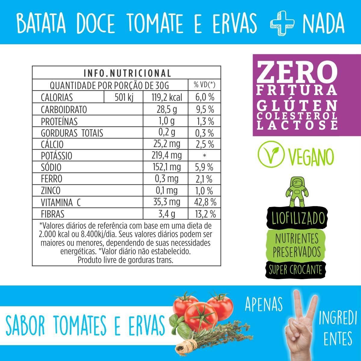 CHIPS DE BATATA DOCE LIOFILIZADA - SABOR TOMATE E ERVAS - 30g - QPod