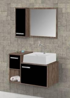 Gabinete Banheiro MM Barcelona  60.cm  Carvalho-Preto
