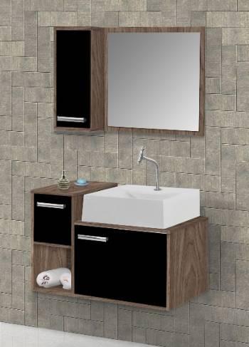 Gabinete Banheiro MM Barcelona  60.cm  Carvalho-Preto - Casa Sul Materiais e Acabamento