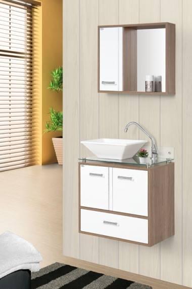 Gabinete Banheiro MM Hortensia com Vidro  60.cm  Carvalho-Br - Casa Sul Materiais e Acabamento
