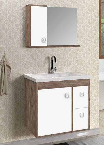 Gabinete Banheiro MM Madri  60.cm  Carvalho-Branco - Casa Sul Materiais e Acabamento