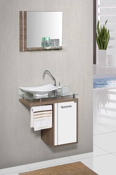 Gabinete Banheiro MM Orquídea com Vidro  60.cm  Carvalho-Bra - Casa Sul Materiais e Acabamento