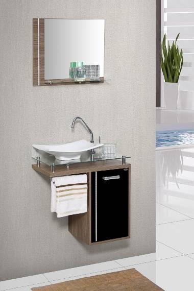 Gabinete Banheiro MM Orquídea com Vidro  60.cm  Carvalho-Pre - Casa Sul Materiais e Acabamento