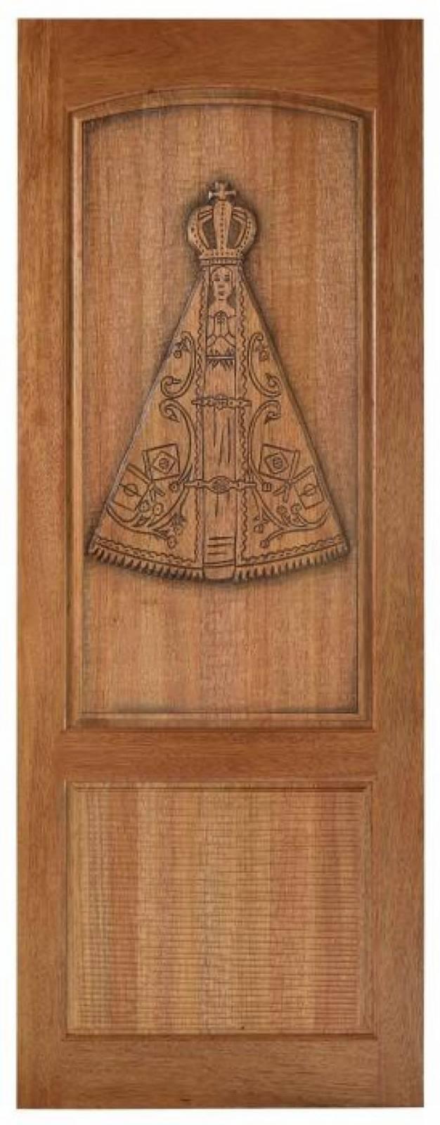 Porta Madeira Maciça Canela Entalhada  210x80.cm  Nsa.Sra.Ap - Casa Sul Materiais e Acabamento