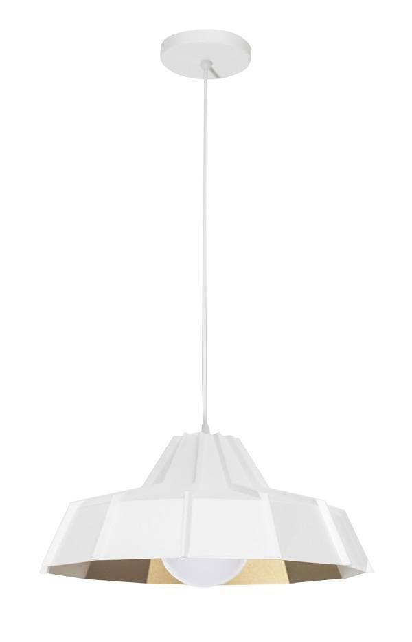 Pendente Baxton Prisma 38.cm Branco-Cobre - Casa Sul Materiais e Acabamento