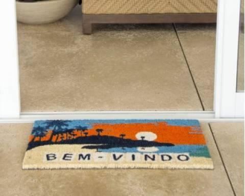 Tapete Fibra de Coco Bem-Vindo Praia laranja - Casa Sul Materiais e Acabamento