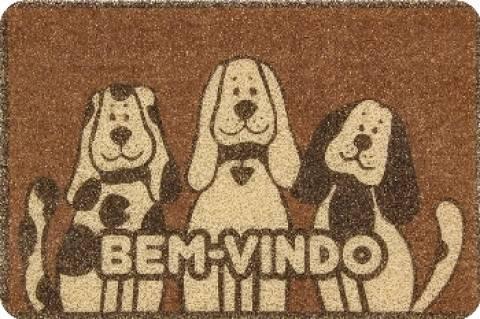 Tapete Vinílico Bem-Vindo Dogs Marrom - Casa Sul Materiais e Acabamento