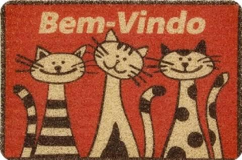 Tapete Vinílico Bem-Vindo Gatos Vermelho - Casa Sul Materiais e Acabamento