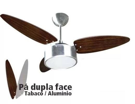 Ventilador Teto Fharo Ventisol Alumínio 3 Pás Tabaco-Prata 1 - Casa Sul Materiais e Acabamento