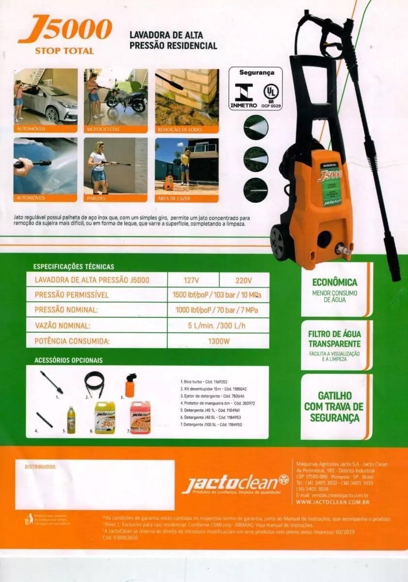 Lavadora Alta Pressão Jacto J5000 220.v - Casa Sul Materiais e Acabamento