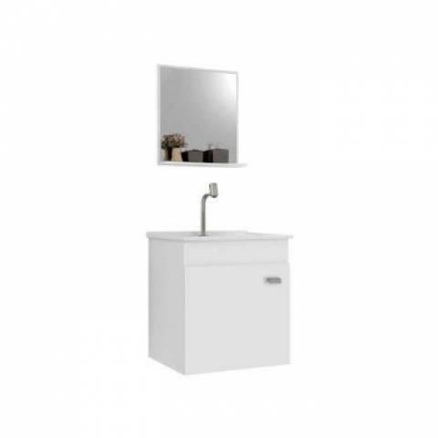 Kit Gabinete Suspenso Para Banheiro Gaam Pop 400 Branco - Casa Sul Materiais e Acabamento