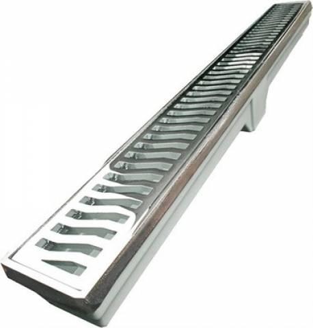 Ralo linear Costa Navarro Alumínio  7x90.cm Cromado - Casa Sul Materiais e Acabamento
