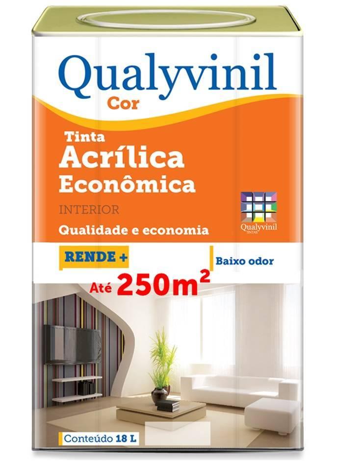 Tinta Látex Acrílica Econômica Cor 18.L Branco Qualyvinil - Casa Sul Materiais e Acabamento