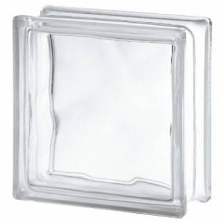 Bloco de Vidro Ondulado Wave 19x19x8cm Incolor
