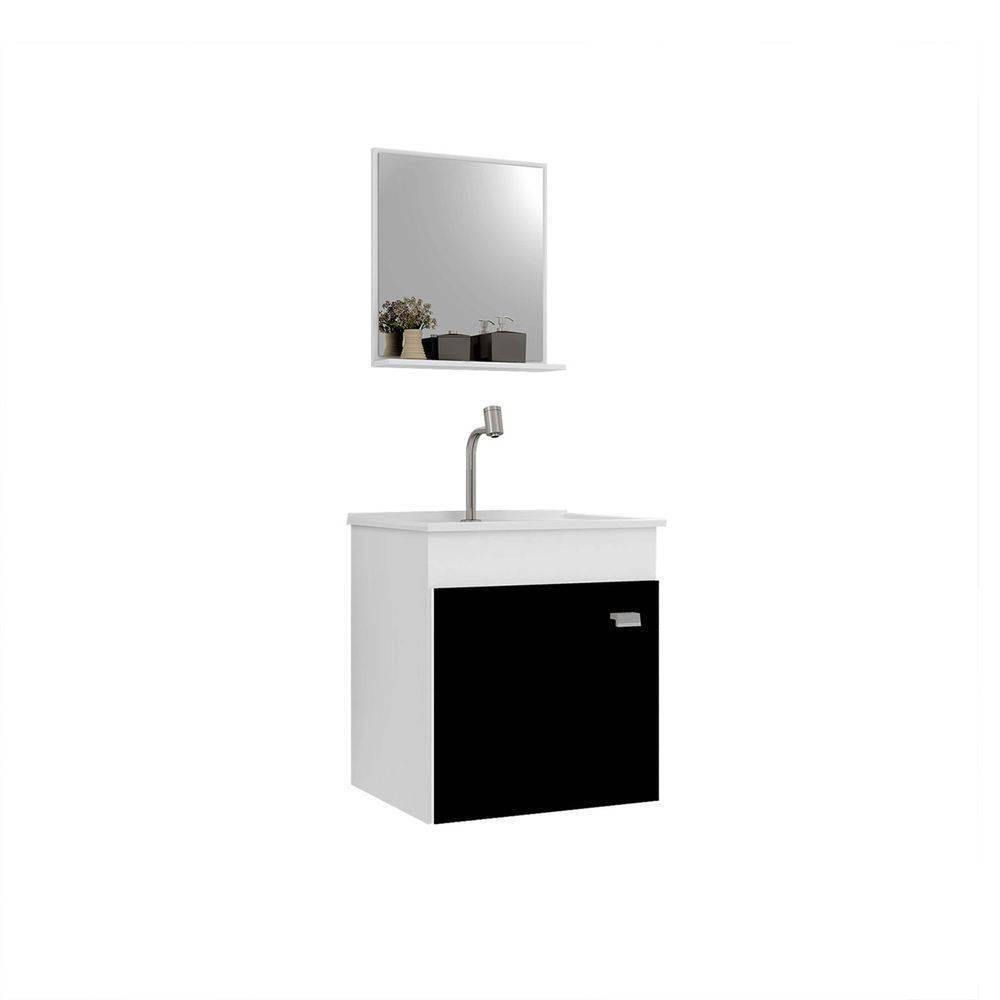 Kit Gabinete Suspenso Para Banheiro Gaam Pop 400 Branco-Pret - Casa Sul Materiais e Acabamento