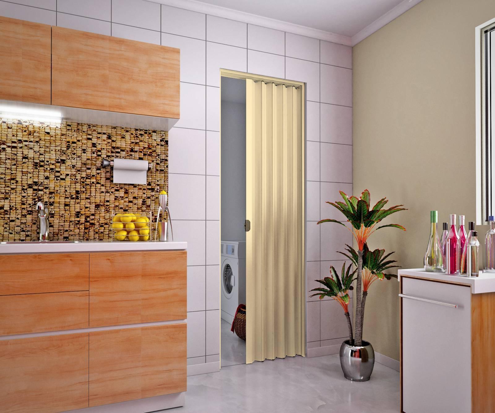 Porta Sanfonada De Pvc plasbil 2,10 x 90.cm Areia - Casa Sul Materiais e Acabamento