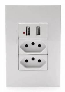 Conjunto 4X2 Soyan 1 Tomada USB 2 Tomada 2P+T 20A Branco