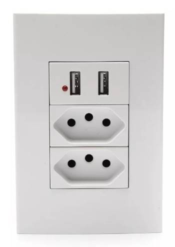 Conjunto 4X2 Soyan 1 Tomada USB 2 Tomada 2P+T 20A Branco - Casa Sul Materiais e Acabamento