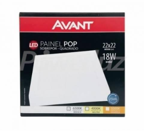 Painel Avant Pop Sobrepor Quadrado 18.W  4000K  Luz Neutra - Casa Sul Materiais e Acabamento