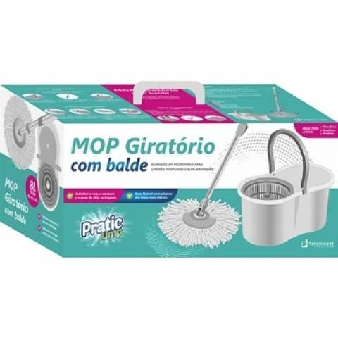 Mop Giratório com Balde Pratic Limp Paramount  8.L  Cinza - Casa Sul Materiais e Acabamento