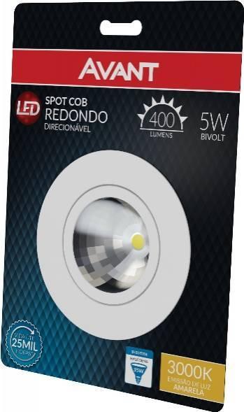 Spot Cob Redondo Direcionável Avant 5.w 3000k Luz Amarela - Casa Sul Materiais e Acabamento