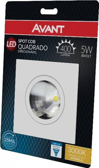 Spot Cob Quadrado Direcionável Avant 5.w 3000k Luz Amarela - Casa Sul Materiais e Acabamento