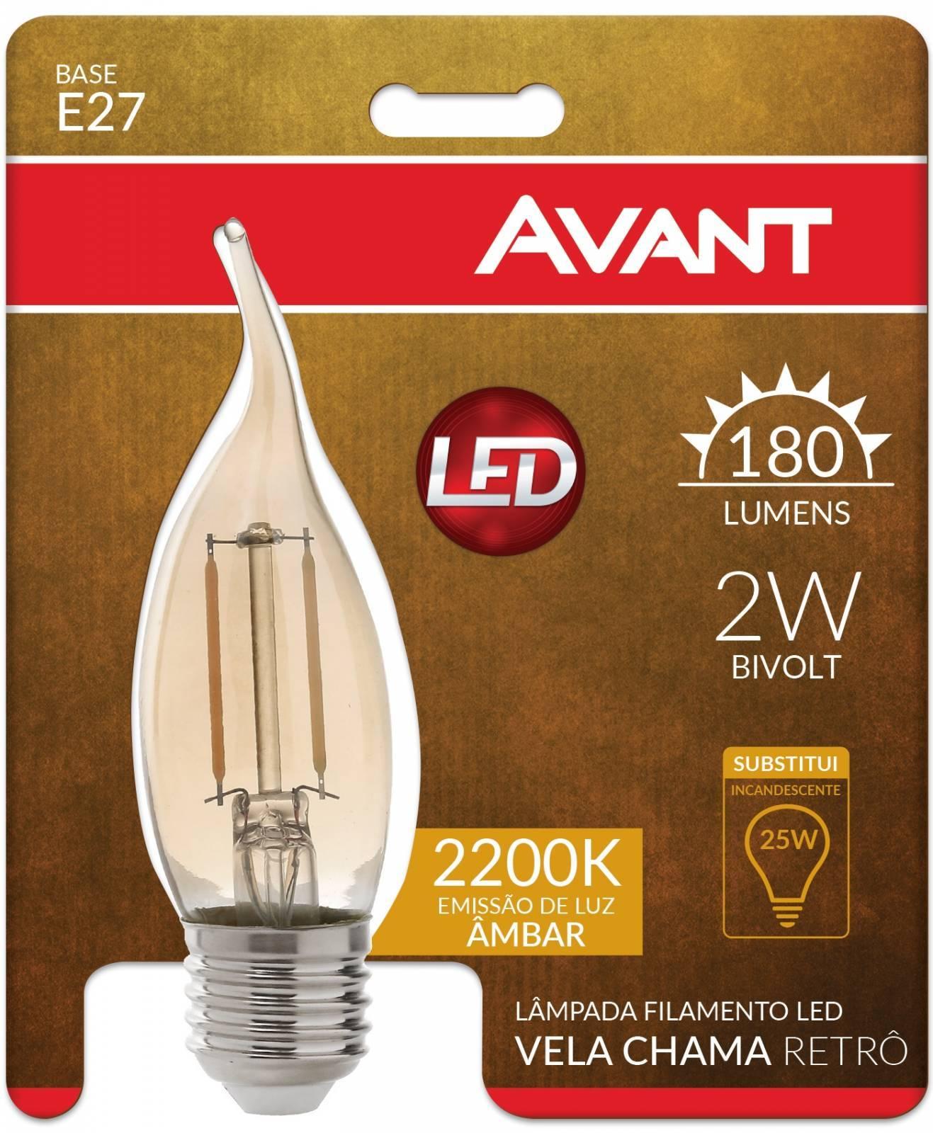 Lâmpada Retrô Filamento Vela e-27 2.W 2200k Luz Âmbar - Casa Sul Materiais e Acabamento