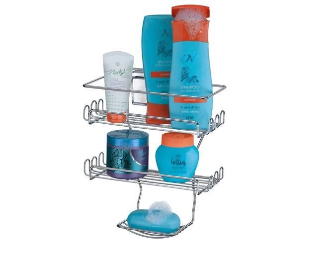 Porta Shampoo Duplo com Ventosa por Sucção Arthi 1303 - Casa Sul Materiais e Acabamento