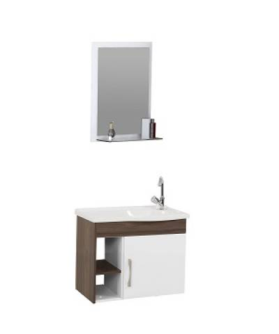 Gabinete Banheiro Rorato Turim 2 Nichos 55.cm Nogal - Casa Sul Materiais e Acabamento