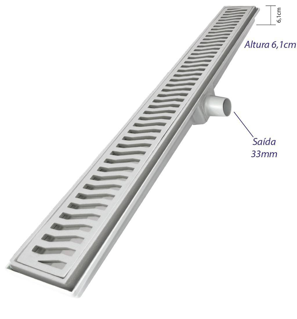 Ralo linear Costa Navarro Alumínio  7x70.cm Cromado - Casa Sul Materiais e Acabamento