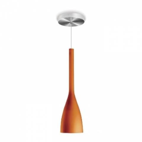 Pendente Tulipa Blumenau Alumínio Escovado Laranja - Casa Sul Materiais e Acabamento