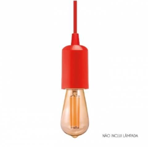 Pendente Slim Vertical Canopla Plástica Vermelho - Casa Sul Materiais e Acabamento