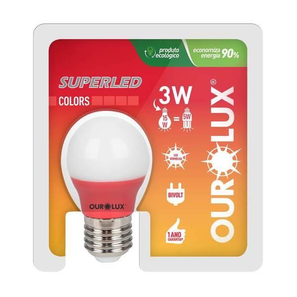 Lâmpada Bolinha Superled Ourolux 3.w Vermelha - Casa Sul Materiais e Acabamento