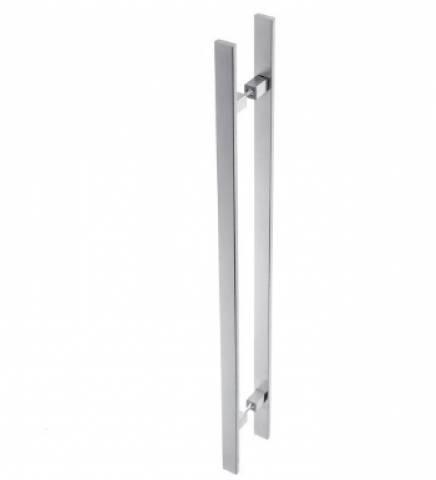 Puxador de Porta Duplo Reto Inox  60.cm - Casa Sul Materiais e Acabamento