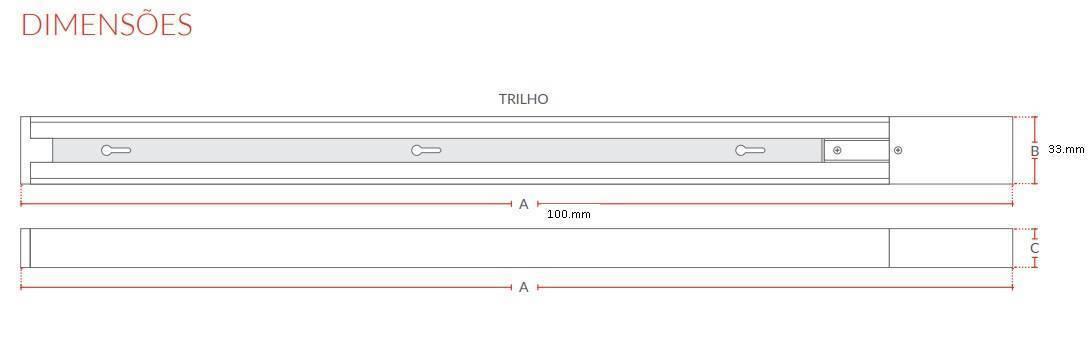 Kit Trilho Elegance Led 3 x 7.w  Branco 300K Luz Amarela - Casa Sul Materiais e Acabamento