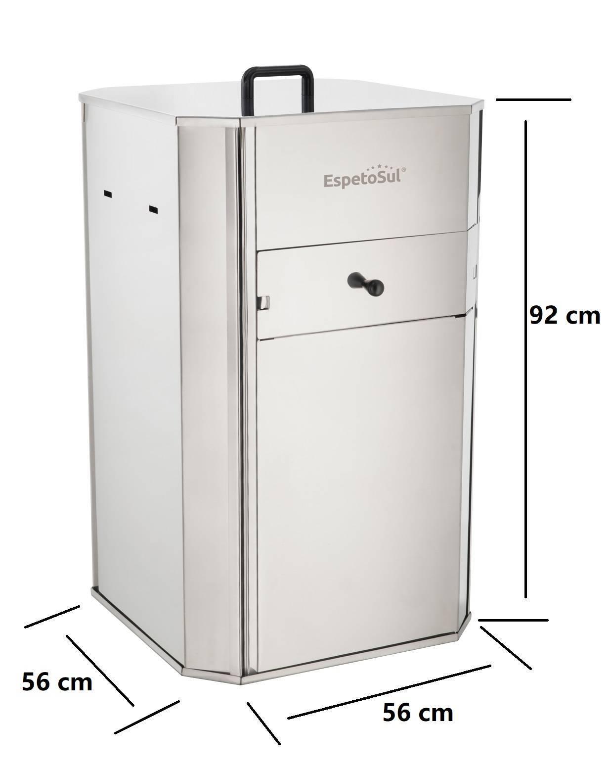 Churrasqueira a carvão inox 20 kg para costela 1 Espeto a pilha - EspetoSul