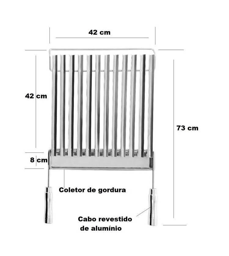 Grelha Aço Inox 304 Argentina com Coletor de Gordura Removível - EspetoSul