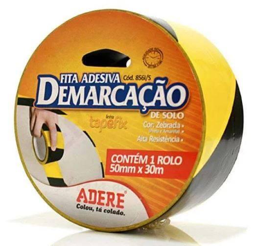 Fita Demarcação 50MMX30M Preta e Amarela Adere - MATERGI MATERIAIS DE CONSTRUÇÃO