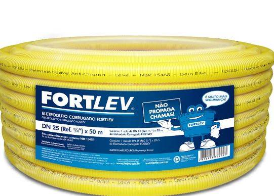 Eletroduto Corrugado Flexível 25MM Amarelo 50mt  Fortlev - MATERGI MATERIAIS DE CONSTRUÇÃO