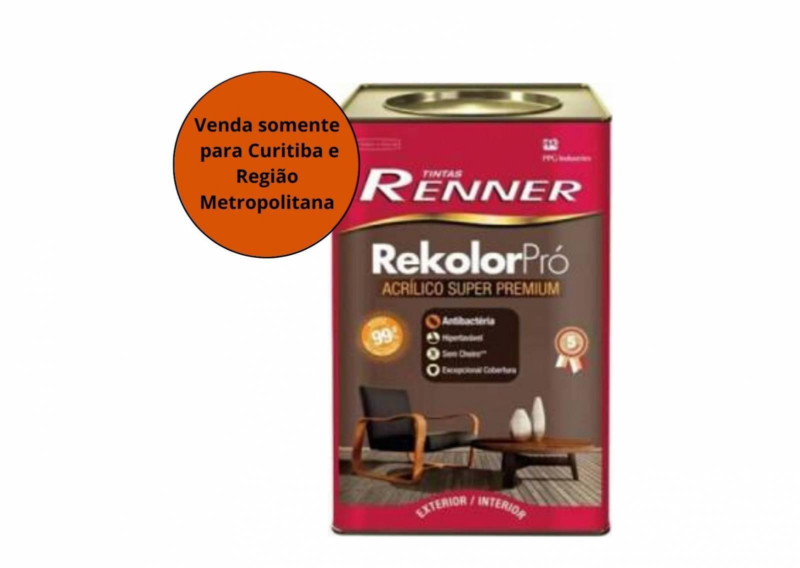 Tinta Acrílica Rekolor SB Branco 18L Renner - MATERGI MATERIAIS DE CONSTRUÇÃO
