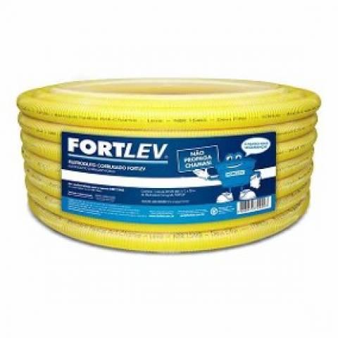 Eletroduto Corrugado Flexível 32MM Amarelo 25mt Fortlev - MATERGI MATERIAIS DE CONSTRUÇÃO