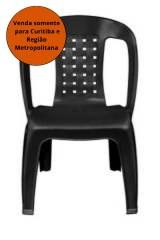 Cadeira Poltrona PVC Preta  VM Bistrô Arqplast