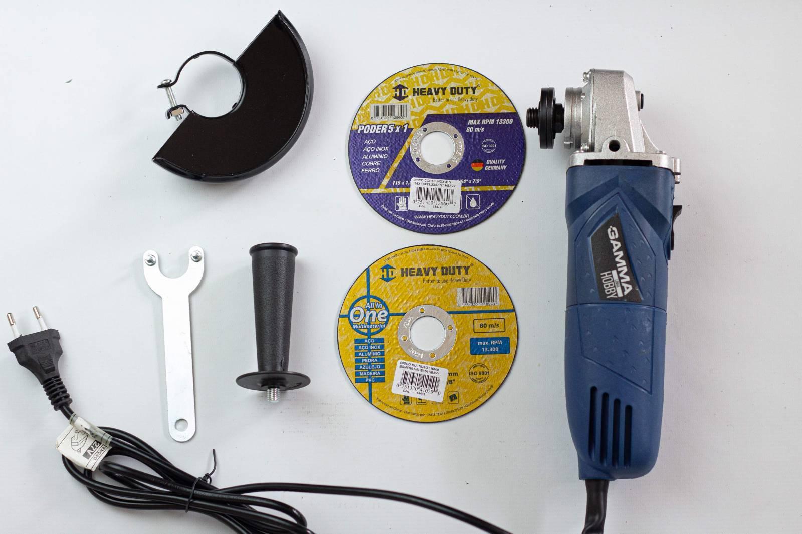 Kit Esmerilhadeira 127V + Discos Inox e Multiuso 115mm - MATERGI MATERIAIS DE CONSTRUÇÃO